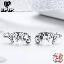 BISAER Authentic 925 Sterling Silver Especial Silver Color Retro European Pattern Stud Earring For Women Jewelry Gift HSE580