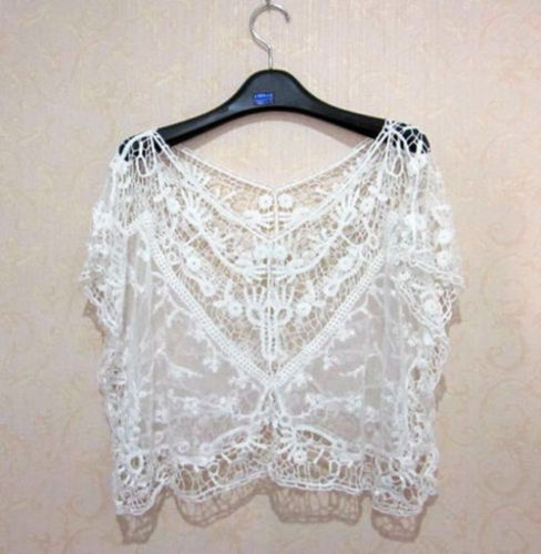 Hot Sale 2019 Summer Women Short Sleeve Elegant Crochet Lace Crop   Top   Hollow Out   Tank     Tops   New Slim Ladies Thin Vest