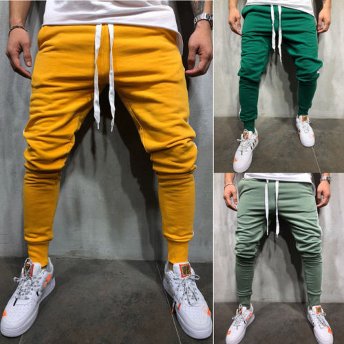 Men Long Casual Sport Pants Gym Slim Fit Trousers Running Joggers Gym Sweatpants Green Yellow Burgundy Pencil Pants