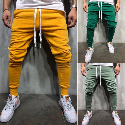 Men Long Casual Sport Pants Gym Slim Fit Trousers Running Joggers Gym Sweatpants Green Yellow Burgundy Pencil Pants