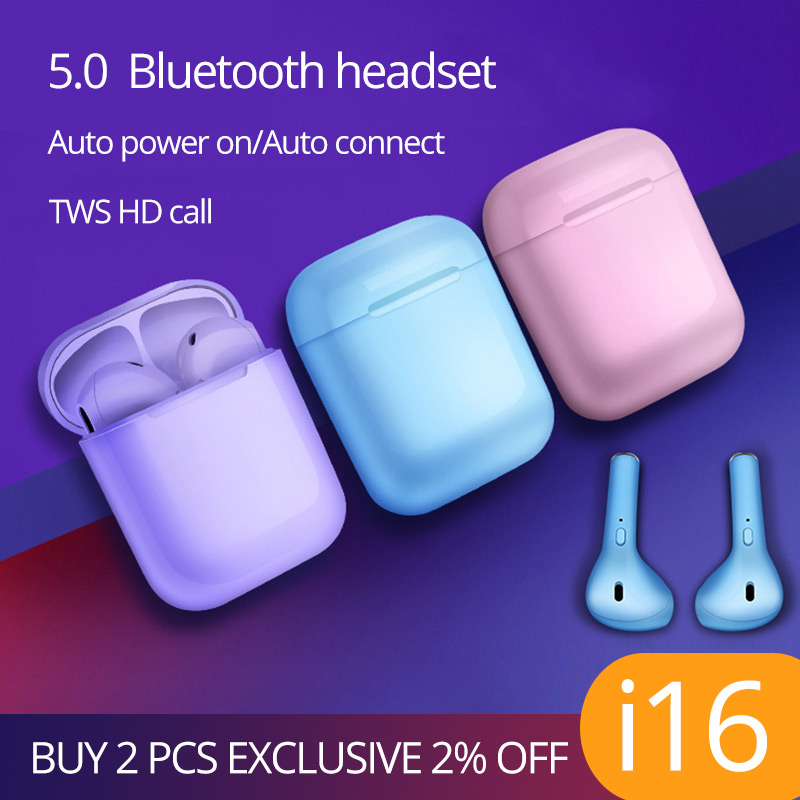i16 TWS Wireless earbuds Bluetooth 5.0 earphones headsets stereo mini headphones PK i10 i13 i12 i14 i15 for iphone for Android