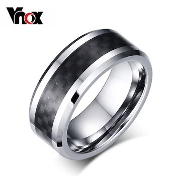 Vnox 100% Tungsten Carbide Vòng For Men Đen Carbon Fiber Mens Nhẫn Đồ Trang Sức