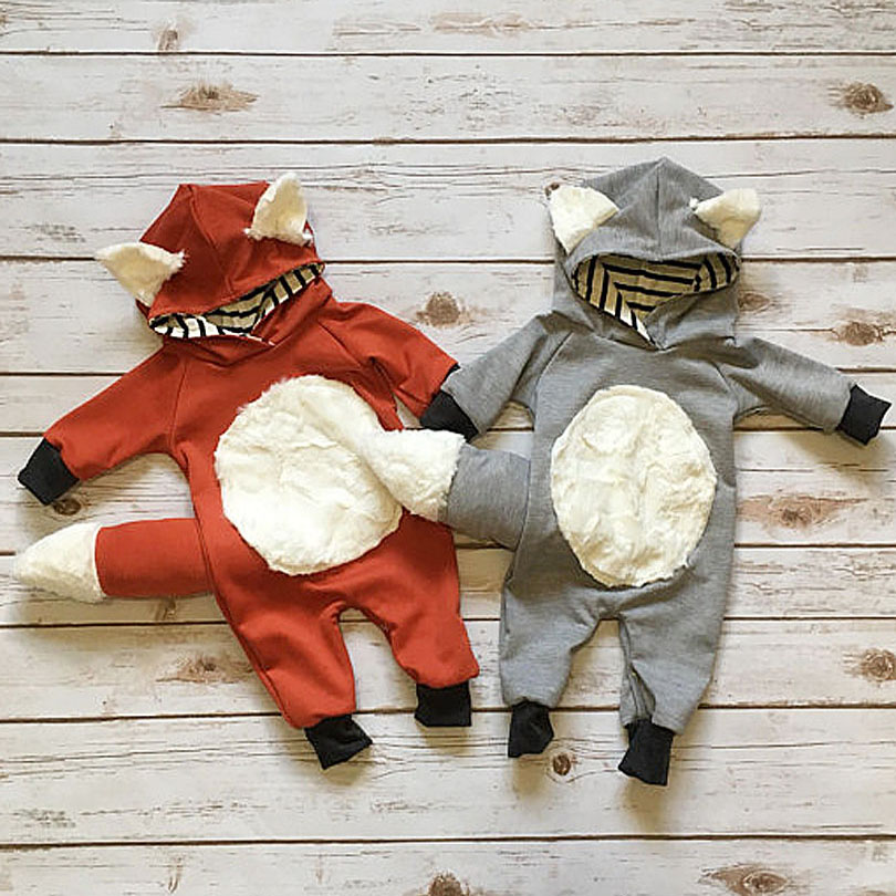 3D Animal Fox Wolf Cute Baby Kid Boy Girl   Romper   Ear Tail Jumpsuit Cosplay Clothes Autumn Winter Outfit 0-2Y 6M