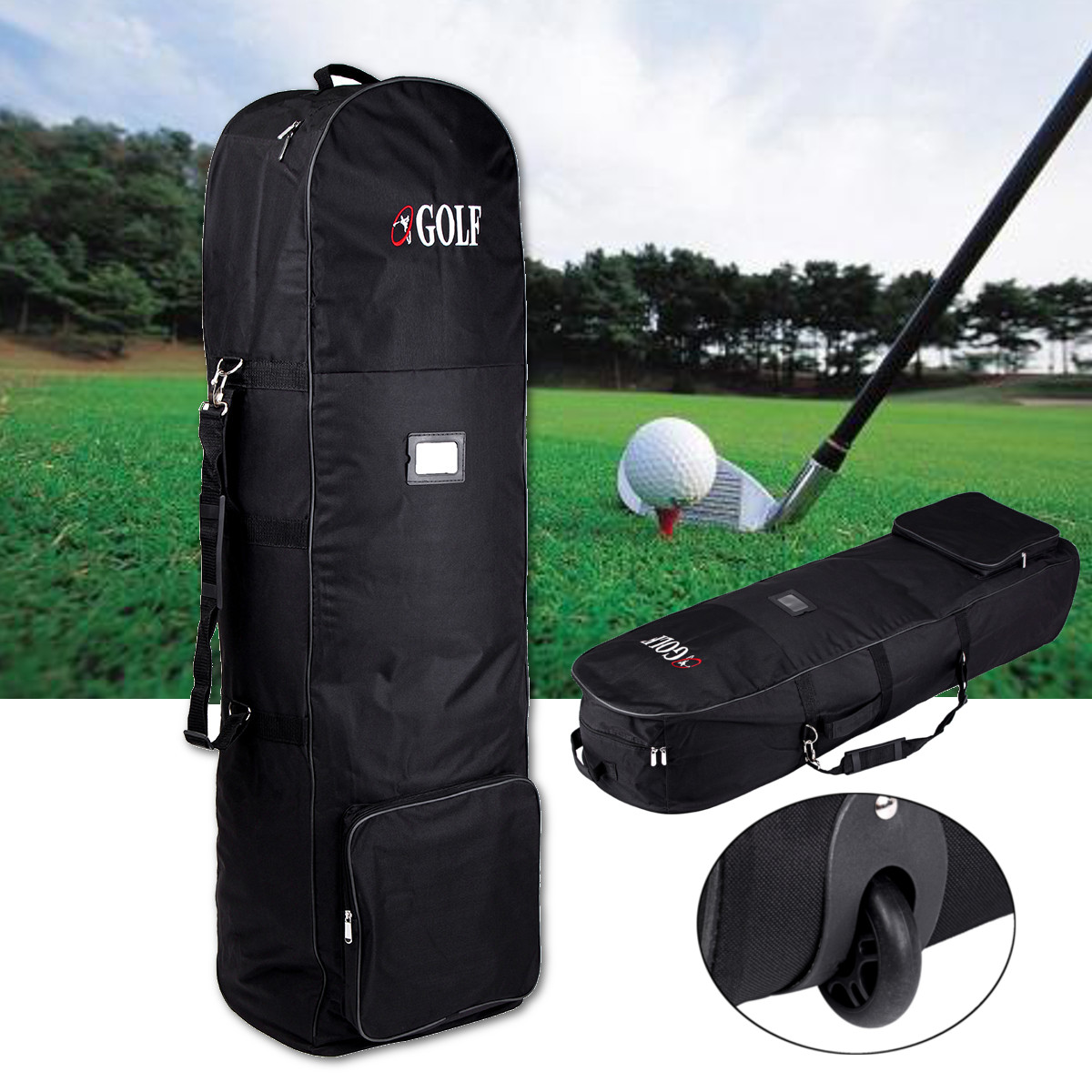 Nylon Golf Clubs Aviation Bag Waterproof Portable Folding Travel Flight Bag Cover with Wheels Sports Bag Golf Accessories