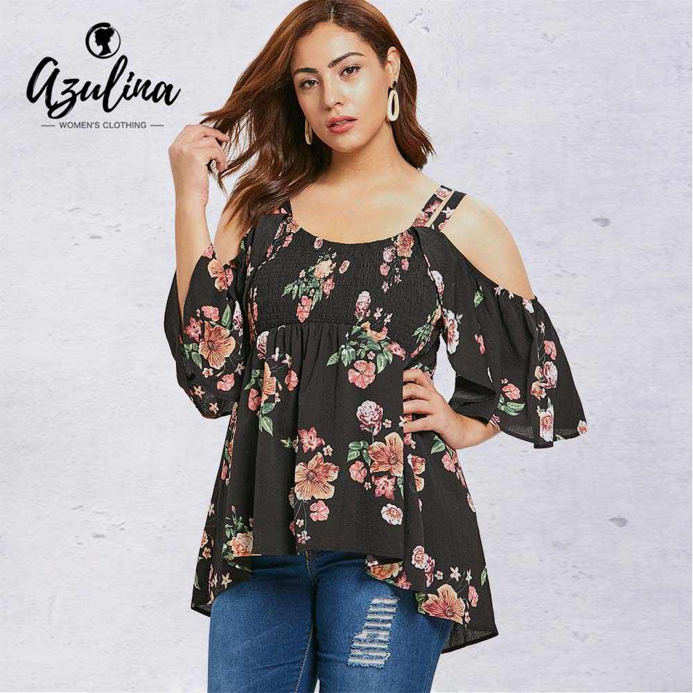 61e38c8f18455 Rosegal Plus Size Open Shoulder Floral High Low T-shirt Casual Print O Neck  Three