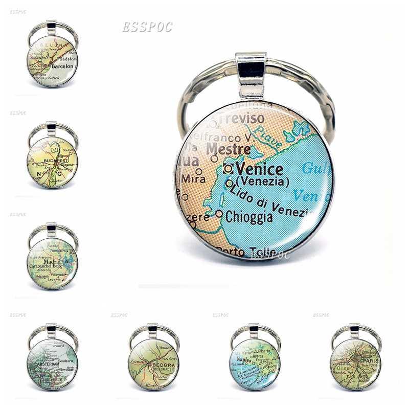 Mapa de las ciudades de Europa colgante de cristal llavero París Prague Venice Rome Florence moda recuerdo joyería regalos para el viajero