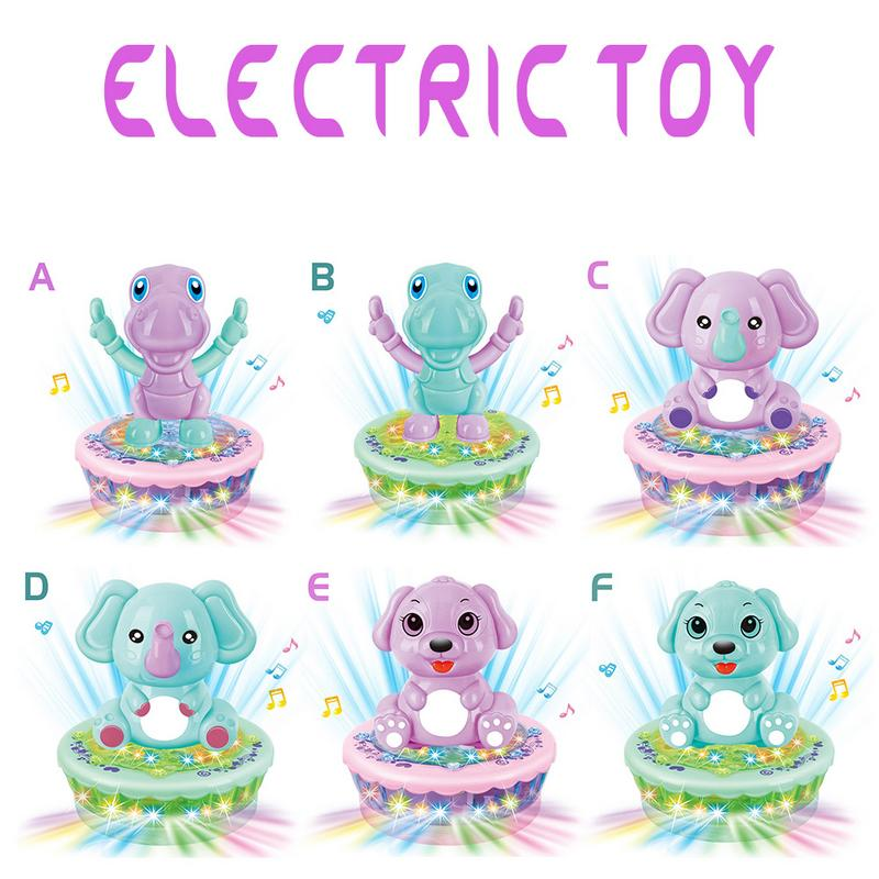 Children's Electric Sound And Light Music Projection Cartoon Rotating Toy Car Baby Bedtime Companion Toy Car (without Battery)