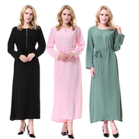 Lady Muslim Long Sleeves Round Neck Front Zip Islamic Maxi Dress