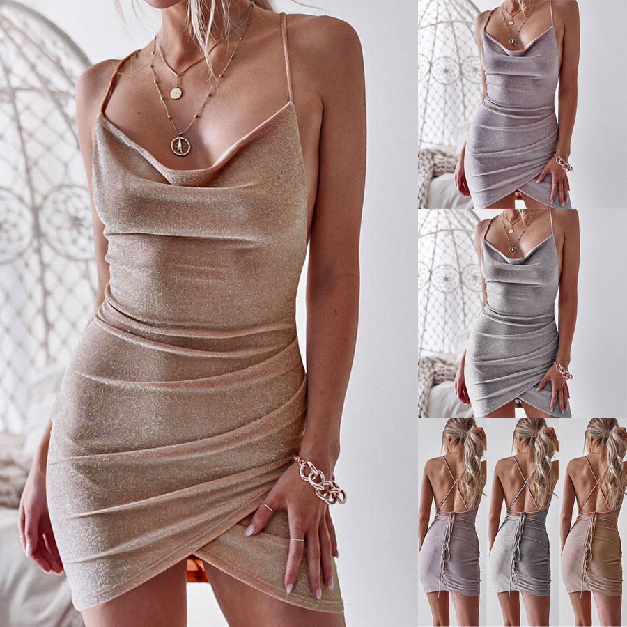Sequined Bodycon Sparkly Backless Bandage Mini Dress