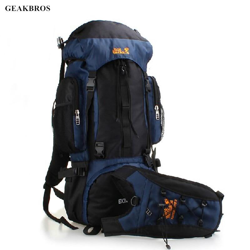 70L Waterproof Outdoor Bag Nylon Men Women Travel Hiking Camping Backpack Multi function Outdoor Sports Mountaineering