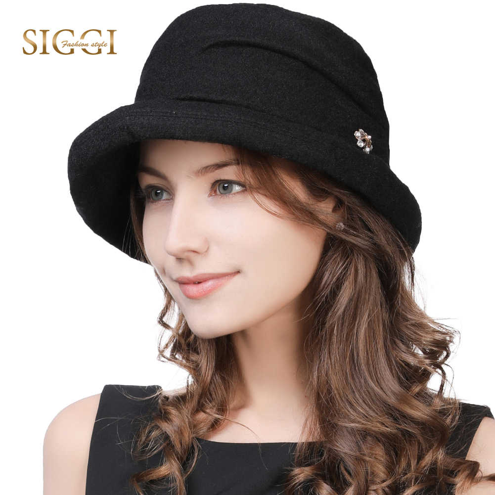 bf18d6a5fc3 FANCET Cloche Round Hats For Women Solid 1920s Wool Vintage Trilby Fashion  Fedora Bowler Hats Flower
