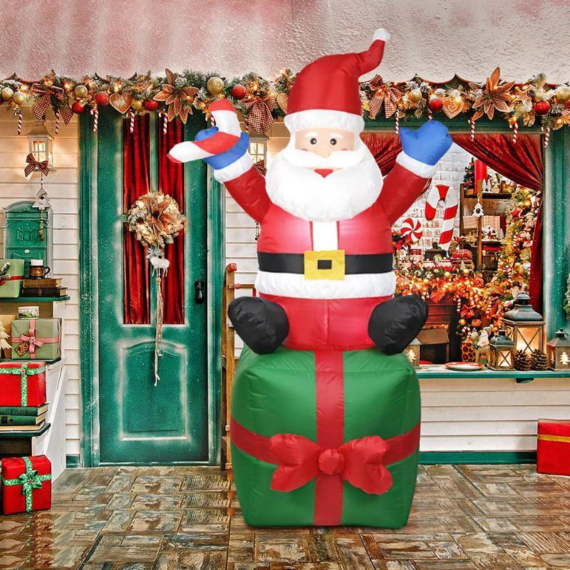1.8M Cute Inflatable Santa Claus Christmas Outdoors Ornaments Xmas New Year Party Home Garden Yard Xmas Decoration EU Plug