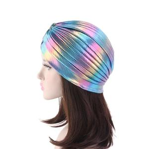 Image 5 - Women Glitter Turban Caps Muslim Head Rainbow India Cap Headwrap Chemo Hair Loss Hat Islamic Headscarf Bonnet Beanies