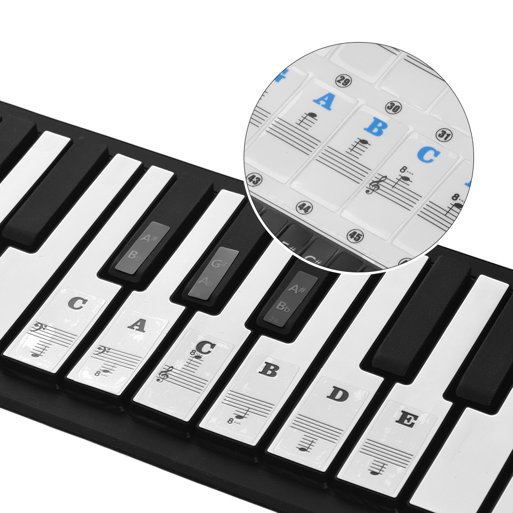 Piano Stickers For 37/49/54/61/88 Key Piano MIDI Keyboards Music Note Stickers Removable Full Set Piano Keyboard Stickers