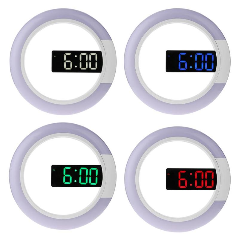 12 Inch Digital Clock Multifunction Round Digital RGB LED Wall Clock Display Time Mirror Hanging Watch Wall Clocks Temperature