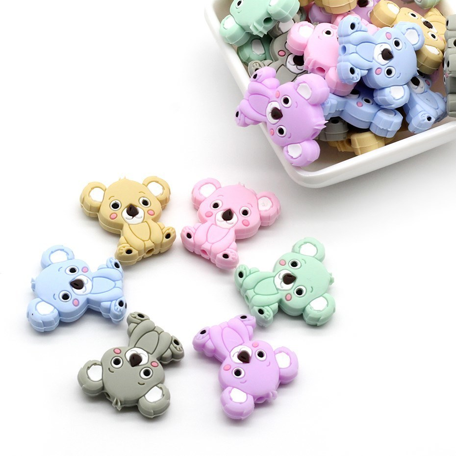5pcs Mini Cute Koala Silicone Teether Pendant Baby Teether Toys Chew Pacifier Clips Soother Chain Accessories Christmas Gifts