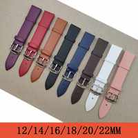 Watchband 1PCS 12mm 14mm 16mm 18mm 20mm 22mm smooth grain genuine leather (cow split) watch band watch strap men and women strap