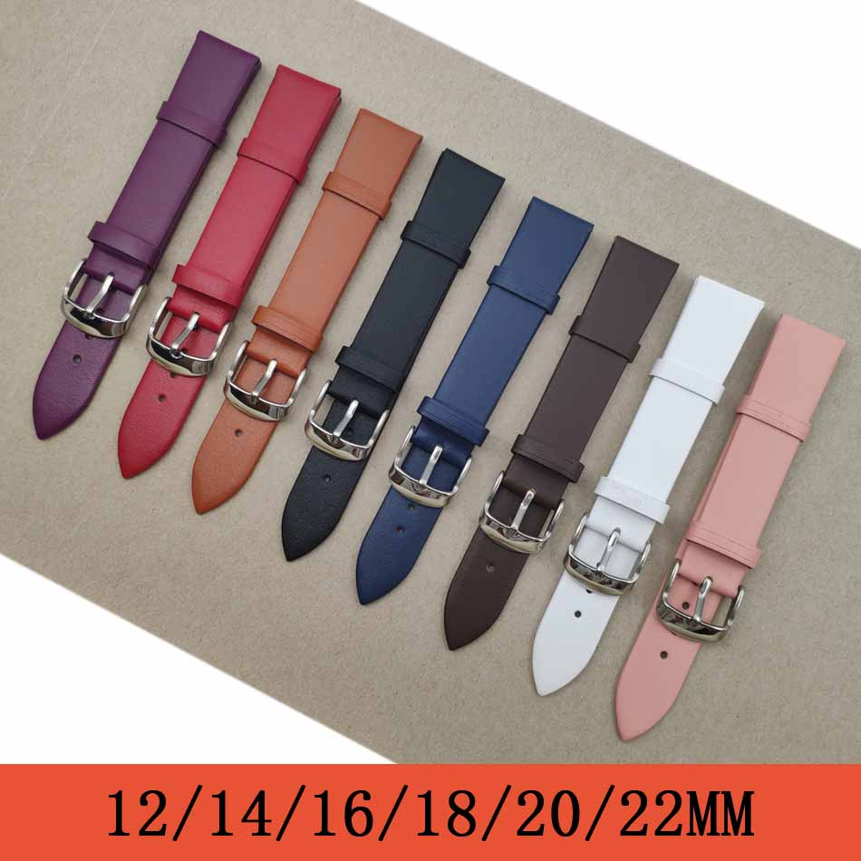 Watchband 1PCS <font><b>12mm</b></font> 14mm 16mm 18mm 20mm 22mm smooth grain genuine leather (cow split) watch band watch strap men and women strap image