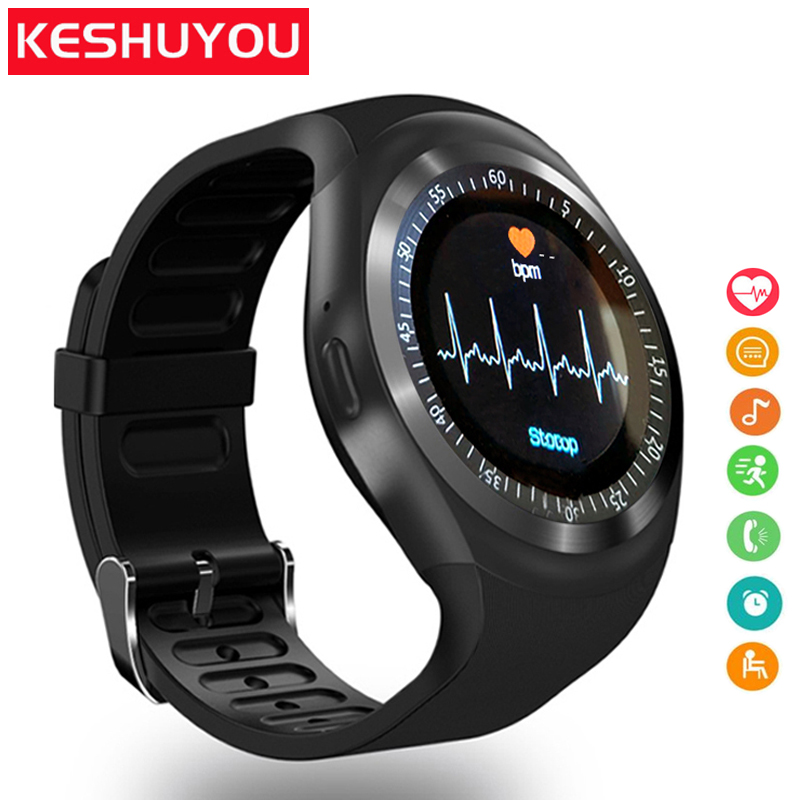 цена KESHUYOU Sport smart watch TS1 Heart Rate monitor Passometer relogio smart watch men Support SIM TF Card for android phone