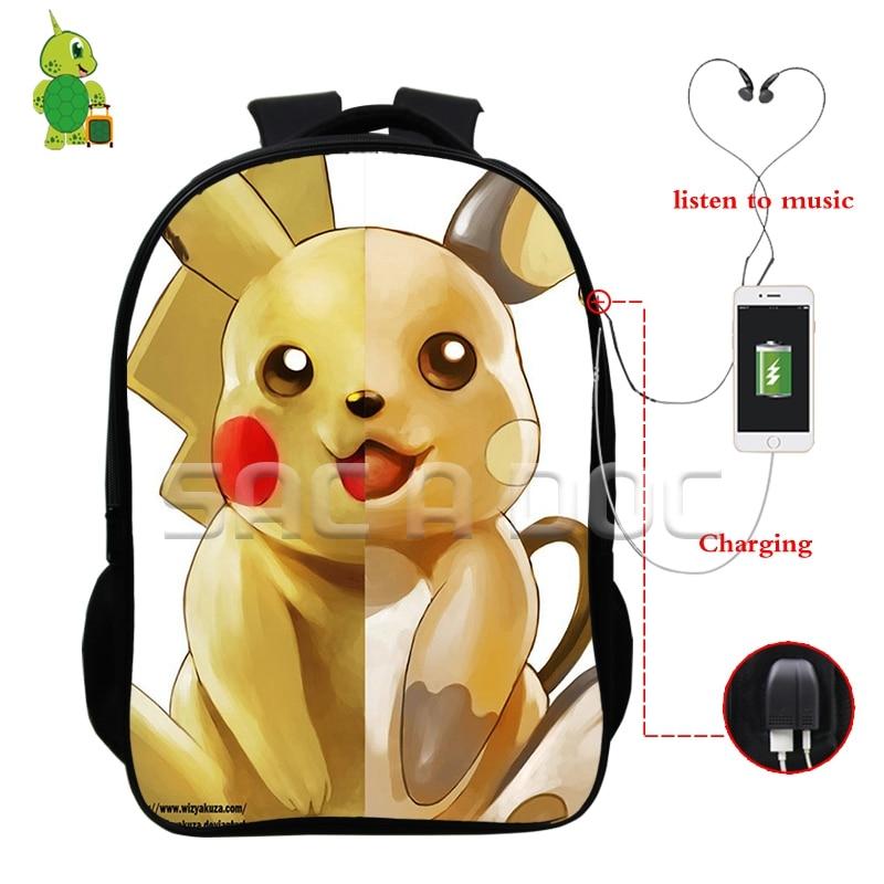 Pokemon Pikachu Raichu Split Backpacks Multifunction USB Charge Headphone Jack Laptop Bags for Teenagers School Travel Bags