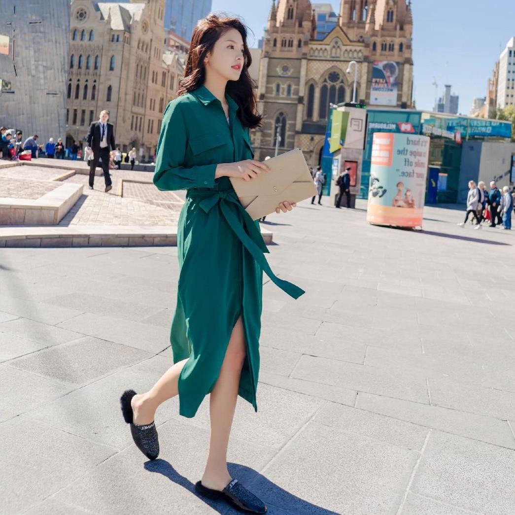419ec31e587c New Chiffon Signore 2018 Camicia Brown green Superaen Abbigliamento Spring  Casual Colore Di Selvaggio Donne Stile Coreano Vestito ...