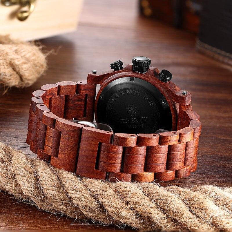 SIHAIXIN montre en bois mâle Relogio Masculino luxe élégant chronographe militaire Quartz étanche entreprise horloge hommes semaine Date - 3