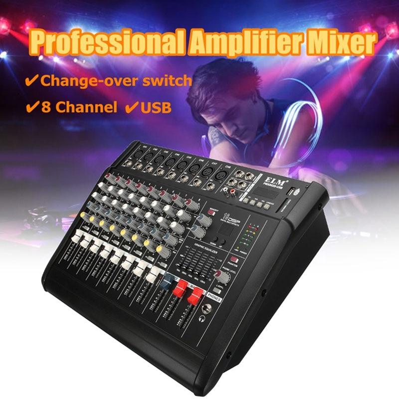 LEORY professionnel 8 canaux Audio stéréo DJ Console de mixage amplificateur micros karaoké KTV USB PMX802D-US