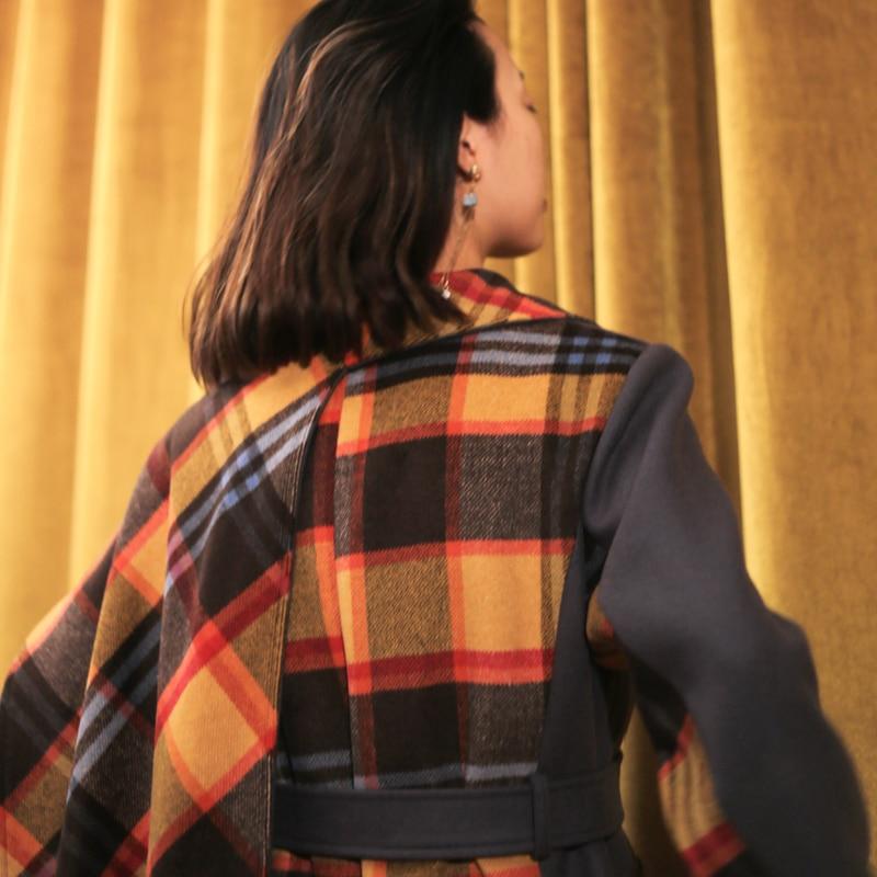 Plaid Laine Hiver L109 Longue Écharpe Manches Paraks À Femmes 2018 Nouveau Automne Manteau Gris Mode Longues De Colour Flower Taille Imprimé Col Grande gqca7