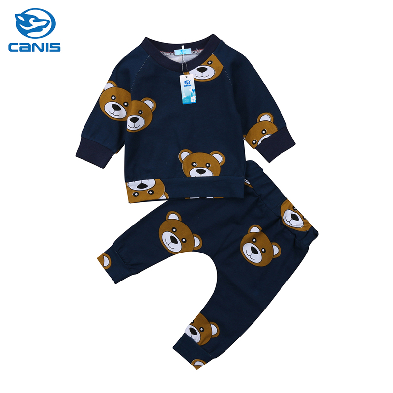 CANIS 2019 New Carton Bear Baby Boy Girl clothes set sweatshirt T-shirt Pants Legging Outfit for Newborn Infant Kid Clothing