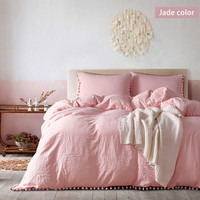 3 Piece Set Candy Color Water Wash Ball US Creases Duvet Cover Set Solid Color Quilt Cover Set High Quality Home Bed Supply 37