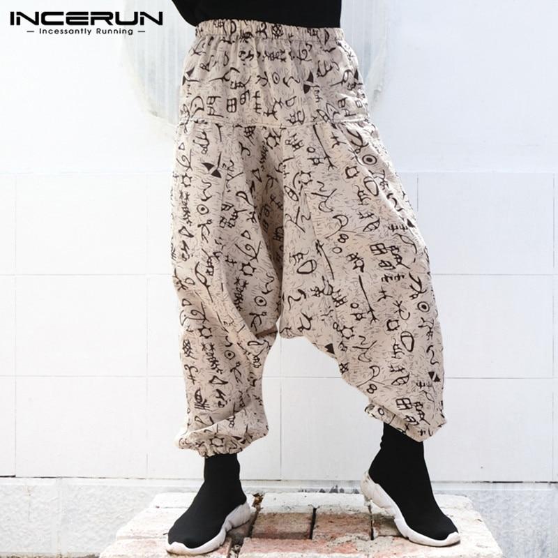 INCERUN 2019 Fashion Printing Trousers Men Loose Elastic Waist Joggers Streetwear Harem Pants Men Hiphop Drop Crotch Cross-pants