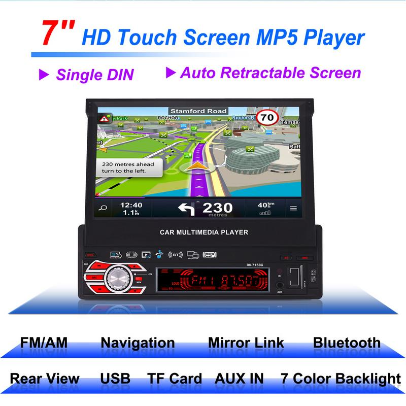 RK-7158G 7inch 1 Din GPS Navigation Car Radio Retractable Screen Auto Media Multimedia Player Vehicle-Mounted MP5 Automatic OpenRK-7158G 7inch 1 Din GPS Navigation Car Radio Retractable Screen Auto Media Multimedia Player Vehicle-Mounted MP5 Automatic Open