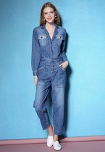 Spring and Autumn womens fashion jumpsuit pocket decoration waisted shape design denim jumpsuits NW17A0001