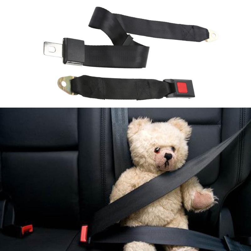Universal 2 Point Seat Belt Adjustable Polyester Fabric Car Vehicle Truck Auto Lap Extension Extender Strap Safety Belts Black