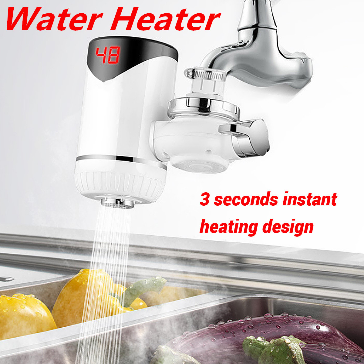 3KW 220V Instant Water Heater Crane Temperature Display Water Heater Electric Hot Water Tankless Heating Bathroom Kitchen Faucet