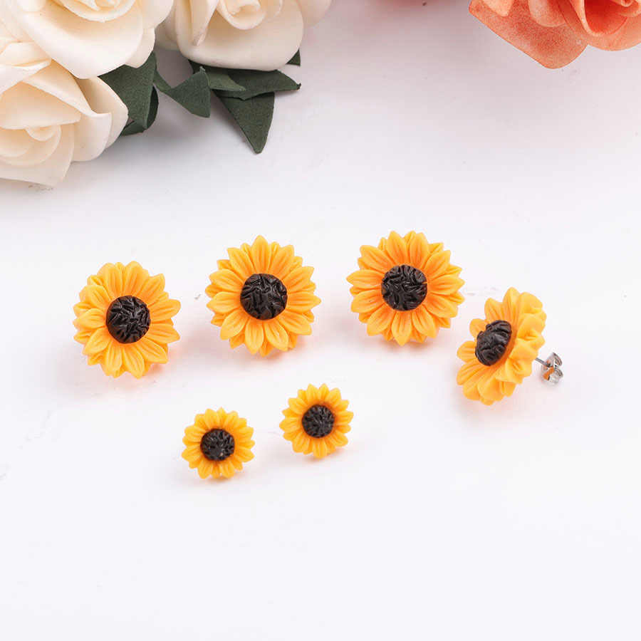 New Sunflower Earrings Stainless Steel Stud 15mm 18mm Resin Cabochon Earrings for Women Jewelry Gift