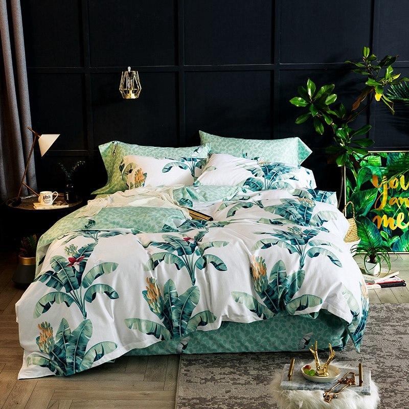 Tropical Egyptian cotton bedding set green leaf print bedlinen duvet cover pillowcases bedspreads Tropical Egyptian cotton bedding set green leaf print bedlinen duvet cover pillowcases bedspreads