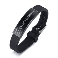 Silicone Sport Medical Alert ID Bracelets for Women Kids Personalized Custom Engrave