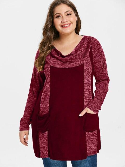 2ec604ac9fe Wipalo Plus Size Female Casual Cowl Neck Long Sleeve Double Pocket T Shirt  Contrast T-