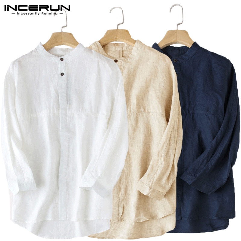 INCERUN Casual Men's Shirt 3/4 Sleeve Stand Collar Cotton Linen Loose Tops Blouse Solid Chinese Style Vintage Shirts Men S-5XL