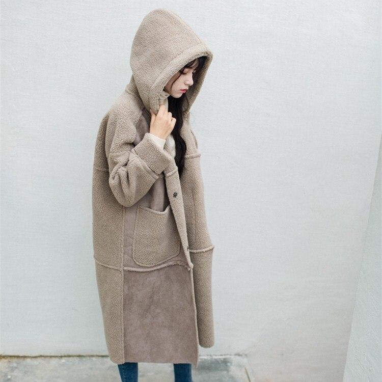 Women Long Sleeve Warm Faux Lamb Wool Coats Hooded Casual Fur Pockets Faux   Suede   Outerwear Winter Turn-Down Collar Long Parkas
