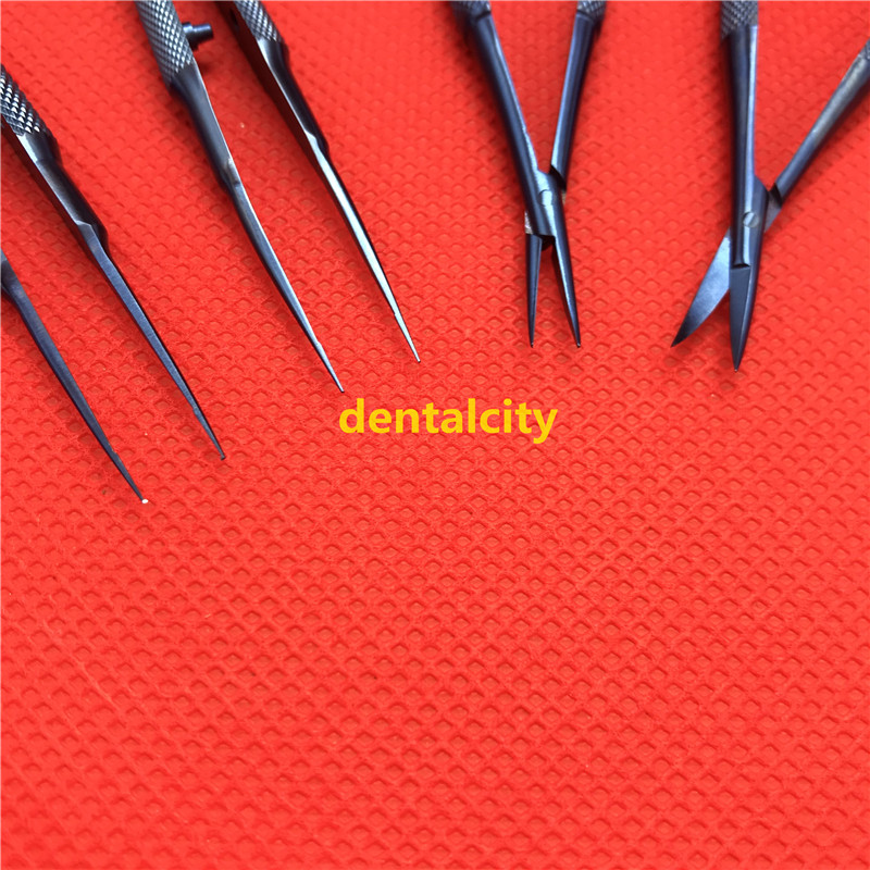 1set 12.5cm Stainless steel/ Titanium alloy instruments set forcep needle holder scissor Ophthalmic surgical instruments-in Face Skin Care Tools from Beauty & Health    3