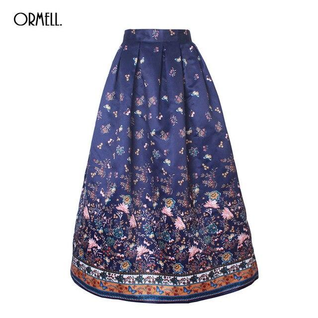 a8a81afaa ORMELL High Waist Maxi Skirt 100cm Butterfly Floral Print Pleated Long  Skirts Womens 2019 Satin Skater