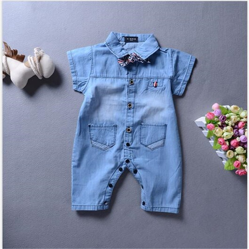 Baby Girl Boy Clothes 2019 Summer Toddler Baby   Rompers   Blue Cowboy Newborn Baby Clothes Gentlemen Kids Clothes Roupas Bebe