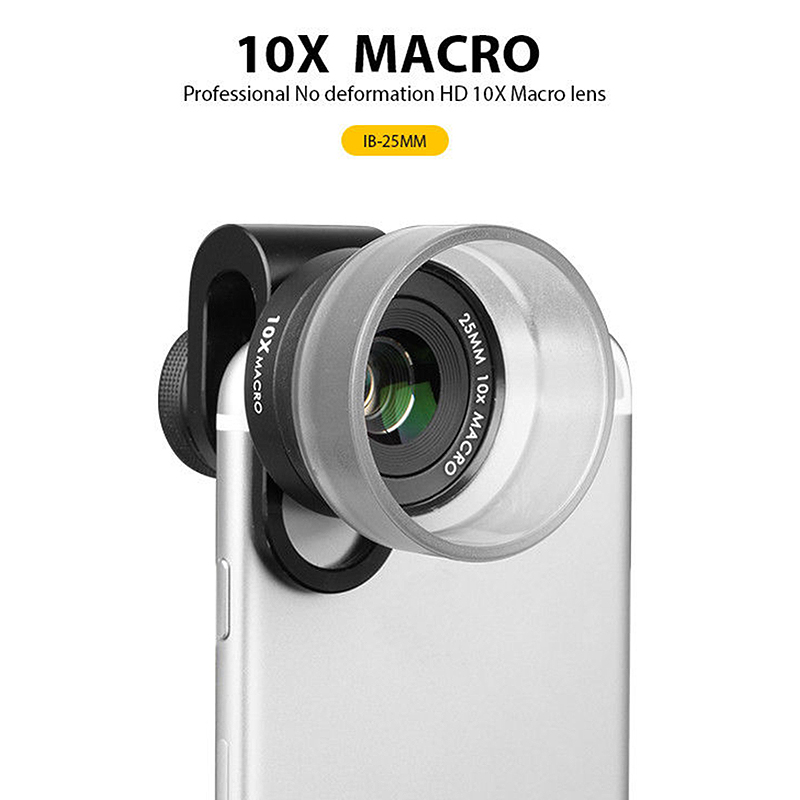 Pholes Professional 4K Hd 25Mm 10X Wide Angle Macro Lens for iPhone Android Fisheye Portrait Telephoto Lens with Clip image
