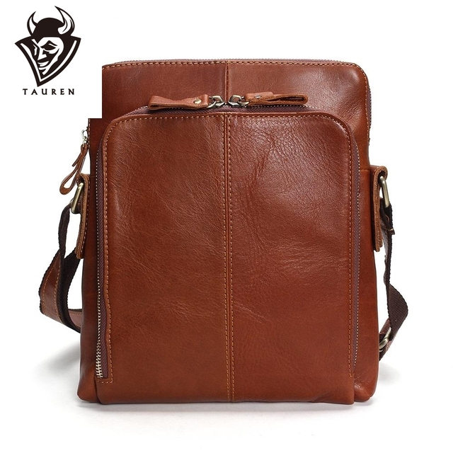 Tauren Genuine Leather Men's Bags Crossbody Bags Flap Male Messenger Bag Men Leather Small Ipad Holder Shoulder Bag Naturally