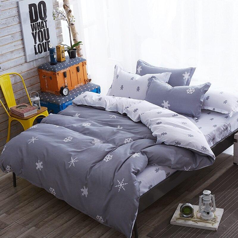 Comforter King Grey Bedclothes Bed Linen Snowflake Cotton Bedding Set Winter Bedsheets Duvet Cover Sets35