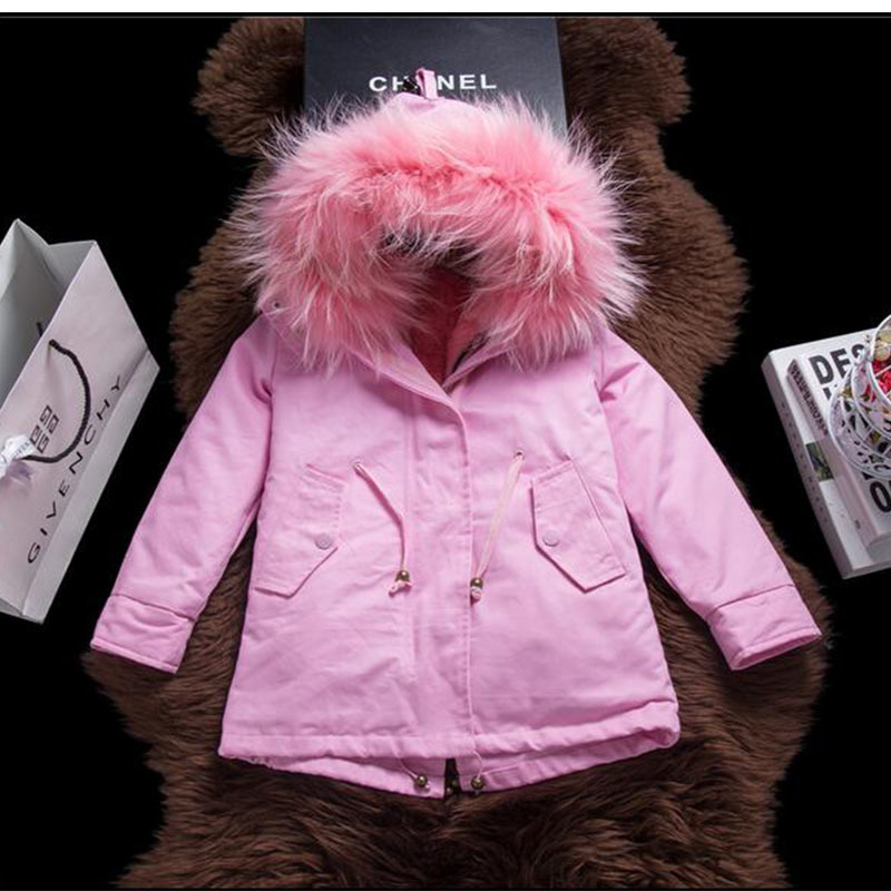 Army Star Models Children's Real Rabbit Fur Coat Winter Warm Outerwear Coat Raccoon Fur Collar Girls Long Full Fur Clothing C#15 children army coat real rabbit fur clothing winter rabbit long parkas hooded coat kids warm thick outerwear black jacket d 1