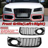 2pcs Car Fog Light Lamp Cover Honeycomb Mesh Hex Front Grille Grill For Audi A5 S Line/S5 B8 RS5 2008 2012 Black / Chrome Silver