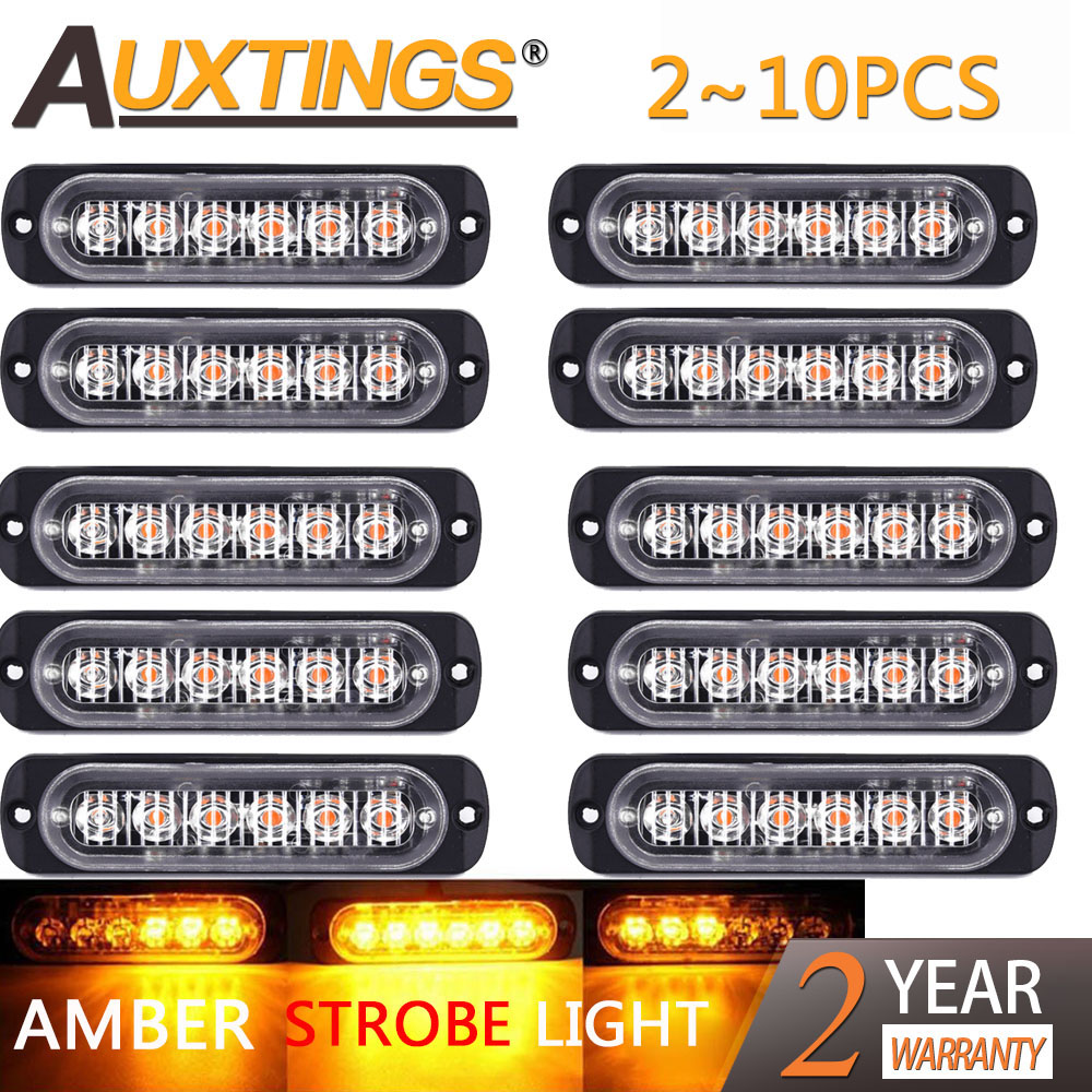 Auxting 10X Amber 6LED Car Truck Motorcycle Emergency Beacon Warning Hazard Flash Strobe Light Bar Offroad Fog Lamp 12V 24V